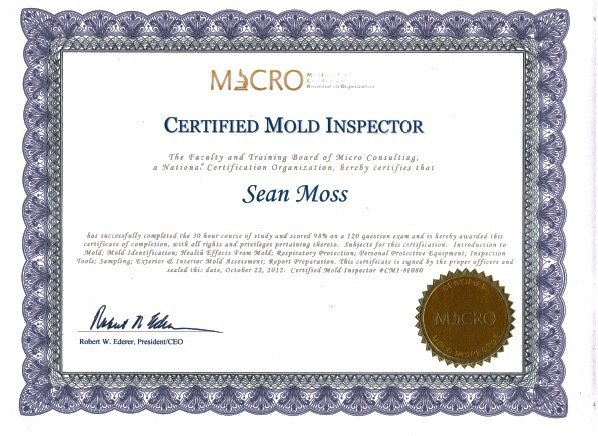 mold inspector certification